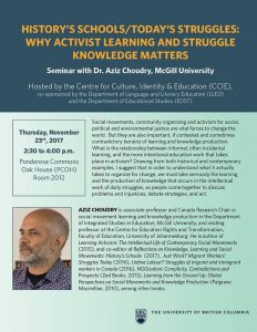 History's Schools/Today's Struggles: Why Activist Learning and Struggle Knowledge Matters